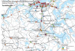 Joukkoliikenteen vaihtopaikat ja liityntäpysäköinti Etelä-Pirkanmaalla. Tämä on tavoitteena 2040.
