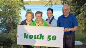 Juhlapäivän KOUK-reitille osallistuivat perustajajäsenistä Oili Valjakka (vas.), sekä Liisa Sjöblom, Raija Partio ja Kalervo Rekola.