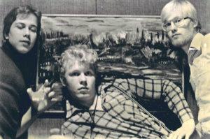 Neljä karvahattua -näytelmän sankarit Aki Sirkesalo, Jukka Pitkänen ja Ari Kutila.