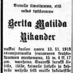 Espanjantaudin ensimmäinen aalto saapui Akaaseen kesällä 1918