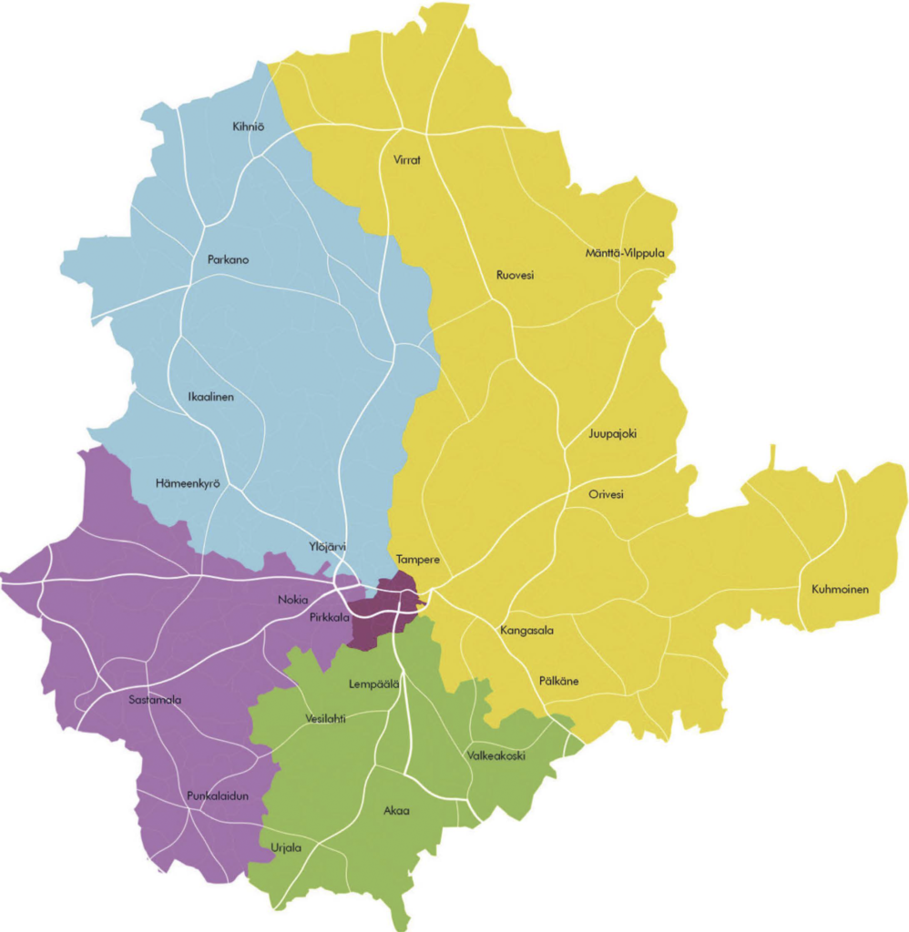 Etelän suunnittelualueen palveluverkkoehdotus on valmistunut. Pirkanmaa on jaettu viiteen suunnittelualueeseen. (Kartta: Pirkanmaan valmistelu)