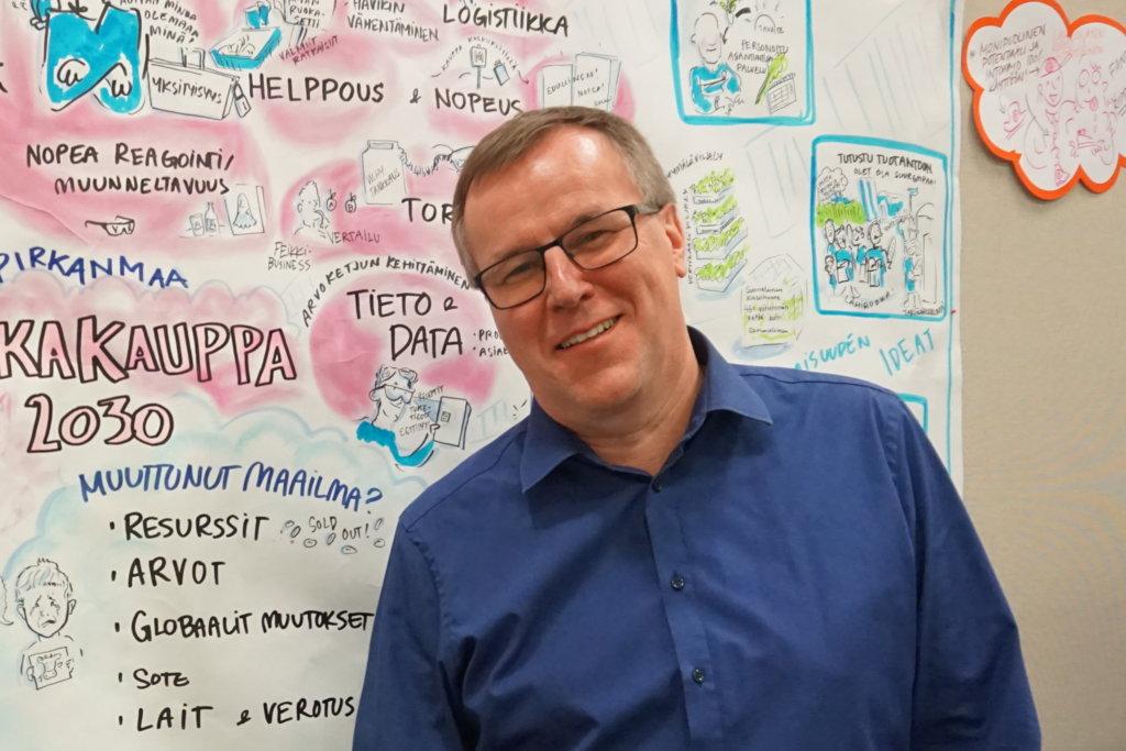 Vuoden 2007 helmikuusta lähtien Pirkanmaan Osuuskaupan toimitusjohtajana työskennellyt Timo Mäki-Ullakko on nyt kauppaneuvos. (Kuva: Matti Pulkkinen)